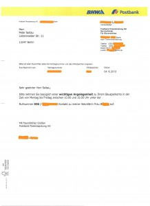 BHW Bausparkasse Brief Anrufaufforderung